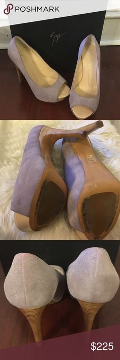 "Lilac suede Giuseppe Zanotti pumps size 37.5 Lilac suede Giuseppe Zanotti pumps size 37.5. Box not included  Suede upper Almond peep toe Fully lined in leather 1½"" platform, 5"" heel Leather sole Made in Italy Giuseppe Zanotti Shoes Heels"