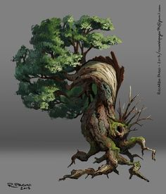 It started as a tree rendering test, but I liked it, so I ended up doing some paintings based on my sketches. Environment Concept, Environment Design, Casa Anime, 3d Mode, Bonsai Art, Bonsai Trees, Fantasy Landscape, Fantasy Trees, Nature Illustration