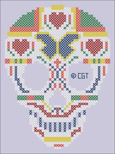 Cross Stitch Skull - Chart ❥ 4U // hf