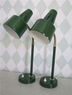 Två Bordslampor, Retro, Mässing, 50-, 60-tal, Lampa, Bordslampa, Sänglampa!