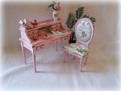 Dollhouse miniature Shabby Desk and Chair in Pink by MiniAbuela,