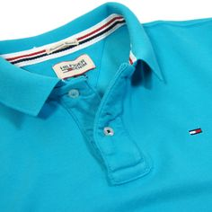 d94f6b03e3844 Close up - Hilfiger Denim Pilot Flag Polo Shirt in Peacock Blue Hilfiger  Denim