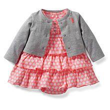 Carter's Girls 2 Piece Coral/Grey Polka Dot Ruffle Dress and Cardigan Set