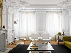 Layers of delicate ornate architectural details with modern furnishings.