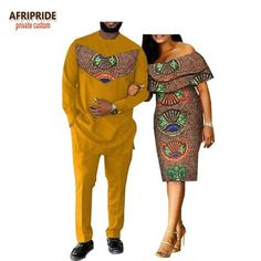 2018 spring casual couple suit AFRIPRIDE men's full length long shirt+pants and butterfly sleeve knee-length women dress Couples African Outfits, Couple Outfits, African Attire, African Wear, African Women, African Dress, African Style, Ankara Dress, African Print Fashion