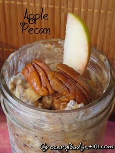 Create your own make ahead Cinnamon Apple Pecan refrigerator oatmeal, a yummy blend of crisp apples and fresh pecans with a hint of cinnamon in a grab and go serving sized portion, perfect for busy mornings on the run. Brunch Recipes, Breakfast Recipes, Refrigerator Oatmeal, Oatmeal In A Jar, Healthy Snacks, Healthy Recipes, Healthy Eats, Good Food, Yummy Food
