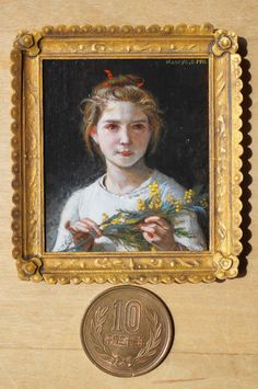 "Miniature reproduction work. bouguereau.""Mimosa"" acrylic on cardboard."