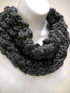 Black Infinity Loop Cowl,  Crochet Circle Scarf, Mens Neckwarmer, Womens Accessories  $19.00