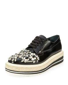 9bbfb7c68a86 Prada Crystal-Embellished Espadrille Sneaker