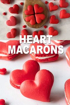 Heart Shaped Macarons (video + template) - Pies and Tacos Baking Recipes, Cookie Recipes, Dessert Recipes, French Macaroon Recipes, Macaron Cookies, Red Macarons, Valentine Desserts, Valentines, Valentine Cookies