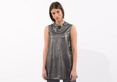 Black silver Blouse, Evening Tops, Sleeveless tunic, Unique Tops, Wet Look, Fashion Tops, Summer Tops, Clothes Women, silver tunic Dark Summer, Summer Tops, Yellow Clothes, Evening Tops, Wet Look, Summer Fashion Outfits, Sleeveless Tunic, Black Silver, Style Inspiration