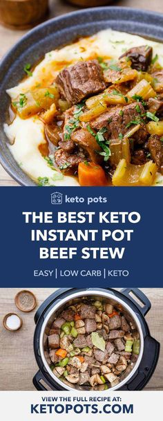Low Carb Beef Stew, Easy Beef Stew, Pork Stew, Instapot Beef Stew, Stew Meat Recipes, Shrimp Recipes, Chicken Recipes, Potted Beef Recipe, Instant Pot Dinner Recipes