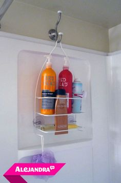 Instead of dealing with the shower head organizer slipping down every day, hang your shower organizer on a hook at the back side of the shower.