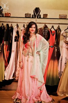 Hot pink jacket blouse with leheriya lehenga for sister of the bride