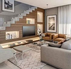 Interior design tips Home Stairs Design, Interior Stairs, Home Room Design, Small House Design, Modern House Design, Home Interior Design, Living Room Designs, Living Room Decor, Living Room Under Stairs