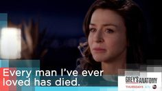 """""""Every man I've ever loved has died."""" Amelia Shepherd to Owen Hunt, Grey's Anatomy quotes"""