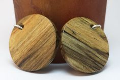Spalted maple handmade earrings, sealed with urethane to enhance their natural beauty, strengthen the wood, and protect the wood.  www.mackeyartistry.etsy.com  #MackeyArtistry