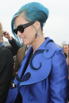 Katy perry is the only person that can pull of blue and pink hair and still look good with it.