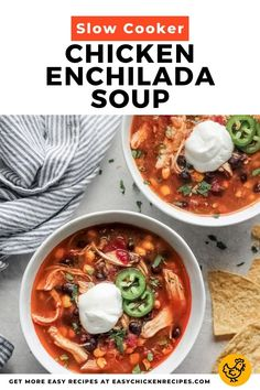 This easy slow cooker chicken enchilada soup is the perfect Mexican comfort food. Easy to make, this soup recipe is dump and go. Perfect for chilly winter nights, this soup is freezer-friendly. #chickensoup #slowcookersoup #mexcian #enchiladasoup Homemade Chicken Soup, Chicken Soups, Chicken Enchilada Soup, Chicken Soup Recipes, Easy Soup Recipes, Chicken Enchiladas, Crockpot Recipes, Dinner Recipes, Slow Cooker Soup