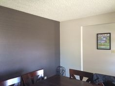 """Olympic """"Oswego Tea"""" and Behr """"Aged Beige"""" in my dining room."""