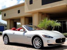 Maserati GranCabrio<<< white cars with red interior! <3