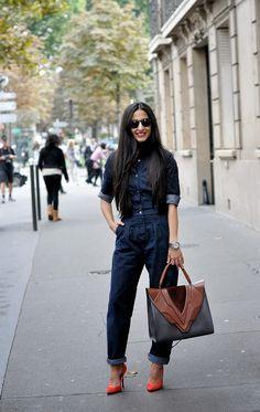 #streetstyle, #denim #jumpsuit Nausheen Shah, Paris Fashion Week, image by StunningStreetstyle