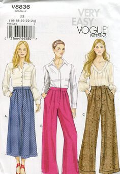 FREE US SHIP Vogue 8836 High Waist Wide leg Pants Trousers Sewing Pattern Size 16 18 20 22 24 New Old Store Stock  Out of Print 2012 by LanetzLivingPatterns on Etsy