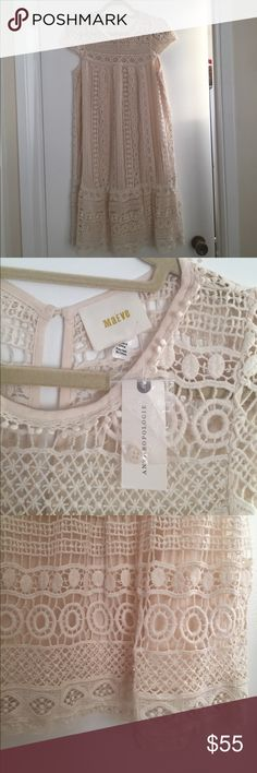 NWT Anthropologie Maeve Small Dress Cream Lace New with tags!  Very loose, summery dress, short lace sleeves, length hits just above the knee. Attached slip underneath lace. Anthropologie Dresses