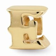Gold Plated Letter E Bead Charm