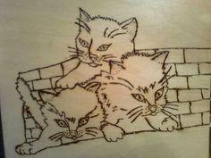 Brandmalerei, Crtanje po drvetu, Malerei, Katzen, Kätzchen