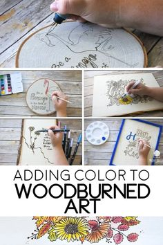 different ways to add Color to your Wood Burning Projects Wood burned art is so beautiful. Often a wood burned piece of art needs no other additions to be gorgeous. But sometimes you may find that you want to add some color to your wood burned design. Wood Burning Tips, Wood Burning Techniques, Wood Burning Crafts, Wood Burning Patterns, Wood Crafts, Wood Burning Projects, Diy Crafts, Wood Burning Stencils, Stencil Wood