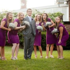 Fun Wedding photography: groom with bridesmaids