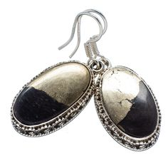 "Pyrite In Magnetite (healer's Gold) 925 Sterling Silver Earrings 1 1/2"" EARR318136"