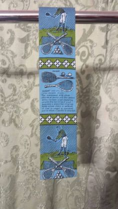 Square bottom tennis themed vintage tie by Rooster ships free by OneKindBoutique on Etsy