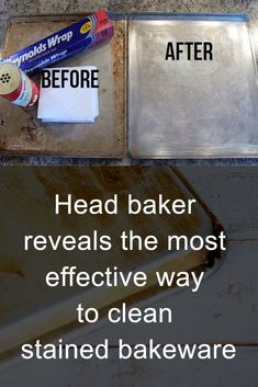 Cleaning stained bakeware is challenging – here's the most effective way to get … - Health Hacks House Cleaning Tips, Diy Cleaning Products, Deep Cleaning, Cleaning Hacks, Hacks Diy, Kitchen Cleaning, Bathroom Cleaning, Cleaning Baking Sheets, Kitchen Hacks