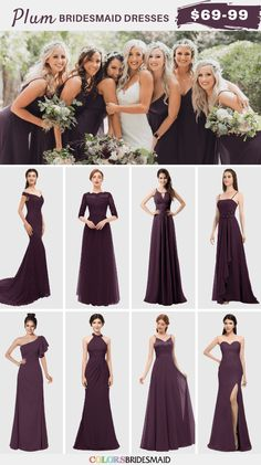 Plum Fall Wedding Color Inspirations: bride in white gown with a plum belt, plum bridesmaid dresses, white flower girls with plum belts, plum and white wedding bouquets, black suits and plum ties for groom and groomsmen… Plum Wedding Dresses, Plum Colored Bridesmaid Dresses, Plum Fall Weddings, Plum Wedding Colors, Dark Purple Wedding, Wedding Bridesmaid Dresses, Eggplant Bridesmaid Dresses, Plum Dresses, Halloween Bridesmaid Dress