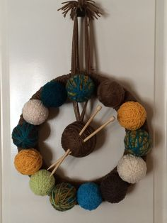 One of a kind, Handmade, Yarn Ball Wreath made by Auntie Kay's Krafts