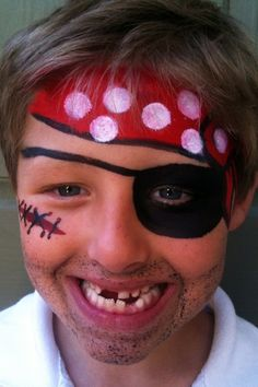 #Pirate face painting on boy http://makinbacon.hubpages.com/hub/piratefacepaintingtutorialschildrenhalloween