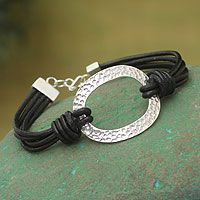Sterling silver and leather cord #bracelet
