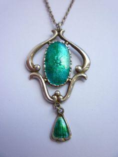 Charles Horner Art Nouveau Silver and Enamel Pendant Necklace