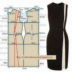 TRANSFORMAÇÃO MOLDE DE VESTIDO Este modelo foi desenhado sobre um molde base semi-largo, pode ser desenhado também numa base normal. Desenhe o molde base,