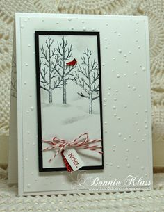 handmade winter/Christmas card from Stamping with Klass: White Christmas for Merry Monday . snowy winter scene on a tall and narrow panel . snow dots embossing folder texture on the background . Stamped Christmas Cards, Homemade Christmas Cards, Stampin Up Christmas, Christmas Cards To Make, Xmas Cards, Handmade Christmas, Homemade Cards, Holiday Cards, Stampin Up Weihnachten