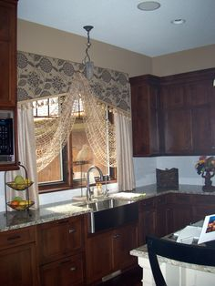 Farmhouse kitchen window-I just love the texture of the swag fabric!!