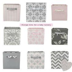 Cute pink, grey and white storage bins for a baby girl's nursery! www.DEQOR.com
