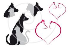 Cat and dog in red heart, pet, animal, love, digital clip-art, clipart set, illustration, drawing, design, silhouette, vector, download