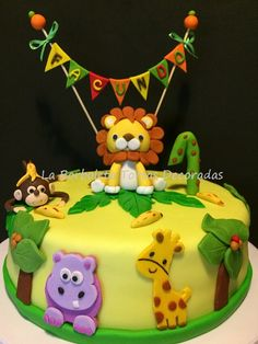 La Borboleta Tortas Decoradas: Torta con animales de la Selva Jungle Theme Birthday, Wild One Birthday Party, Animal Birthday, Birthday Cake Girls, Boy Birthday Parties, Baby Birthday, Zoo Cake, Jungle Cake, Baby Shower Cakes