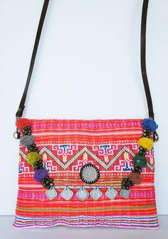 Handmade Vintage Crossstitched Messenger Handbag