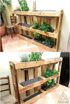 Plant herbs & veggies in stunning wood pallet planter boxes. These innovative planters are a great way to start growing fresh herbs & veggies from home #diy #diypallet