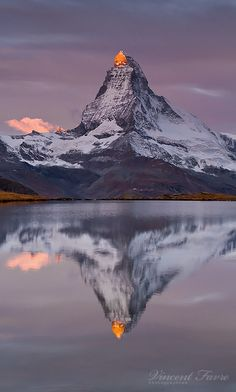 ~~Matterhorn ~ mountain reflection in mirror-like water, Valais, Switzerland