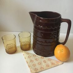 Check out this item in my Etsy shop https://www.etsy.com/listing/492250470/vintage-large-brown-pitcher-marcrest
